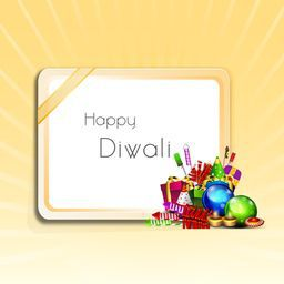 Illustration of beautiful frame with text of happy Diwali and colourful crackers on light orange background.