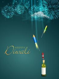 Celebration of Diwali festival with firecrackers and stylish text of Happy Diwali on shiny sea green background.