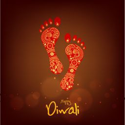 Illustration of the shiny footprints of Goddess of wealth, Laxmi on a vintage brown background in night view.