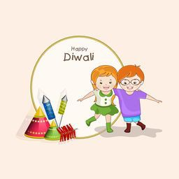 Cute little kids enjoying to watch lot of crackers on light pink background.