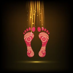 Foot print of Goddess Laxmi with the light of golden on black and golden shaded background.