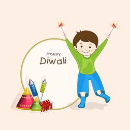 Little and cute boy celebrating diwali with the playing crackers on light pink background.