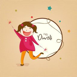 Cute little girl playing with crackers and wishes for Diwali festival on stars decorated background.