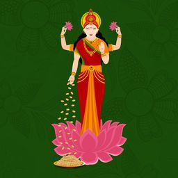 Hindu mythological Goddess Laxmi stand on a lotus flower on dark green background.