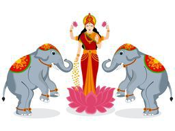 Hindu mythological Goddess Laxmi stand on a lotus flower with two elephant on white background.