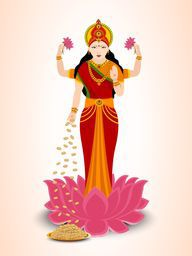 Hindu mythological Goddess Laxmi stand on a lotus flower on white and light orange background.