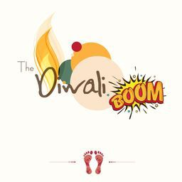 Illustration of beautiful flame in stylish text of Diwali Boom on circle with Goddess Laxmi's foot print for blessing on white background.