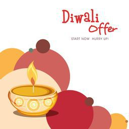 Poster of Diwali Offer with a message, illuminated oil lit lamp and colorful circle on white background.