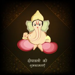 Hindu mythological Lord Ganesha sit and giving blessing with stylish hindi text of Deepawali on floral decorated background.