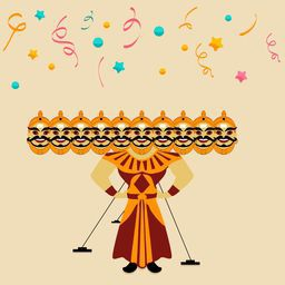 Illustration of a Ravana statue with his ten heads on colorful stars and ribbons background.