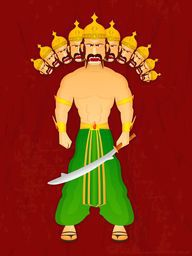 Standing illustration of proudy Ravana with his ten heads holding sword in his hand wearing yellow crown and green clothes on a red vintage background.
