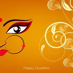 Beautiful half face of smiling  Goddess Durga with big nice eyes and wearing a nose ring with red pearl on a floral background.