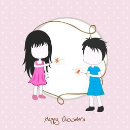 Cute little girls enjoying firecrackers on occasion of Dussehra Festival, Elegant Greeting Card design with space for your wishes.