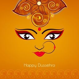 Illustration of Goddess Durga beautiful face  with big eyes wearing nose ring with three red pearls on a floral decorated orange background.