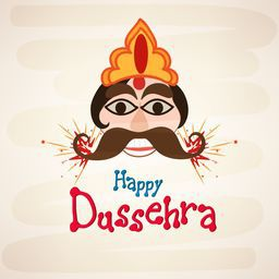 Funny face of Ravana with big black eyes  and brown moustaches wearing a golden and orange crown with crackers.