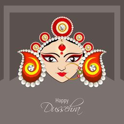 Illustration of the face of Goddess Durga with beautiful eyes wearing a golden nose ring and a heavy colourful crown decorated with red and white pearls.