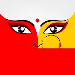 Illustration of Goddess Durga in two bright colours red and golden with big beautiful eyes wearing a nose ring with three red pearls on a simple white background.