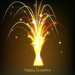 Beautiful illustration of firework with bright golden, orange and yellow light spreading out small stars in night background.