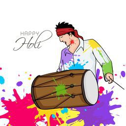 Young man playing drum on occasion of Indian festival, Holi celebration with color splash on white background.