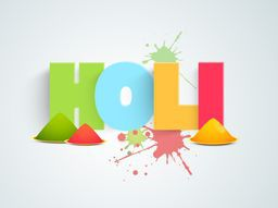 Glossy text Holi with shiny dry colors (gulal) for Indian festival celebration, can be used as poster or banner design.