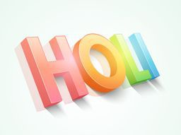 Glossy 3D text Holi for Indian festival of colors celebration, can be used as poster or banner design.