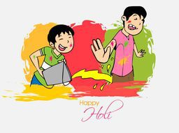 Cute little kids enjoying and playing with colors on occasion of Indian festival, Holi celebration.
