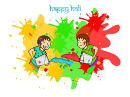 Cute little kids throwing colors on each other for Indian festival, Happy Holi celebration.