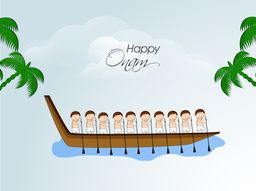 Scene of South Indian people taking part in Snake Boat Racing on a sky look background.