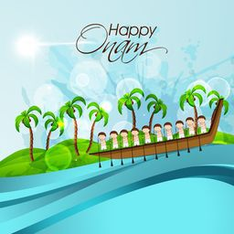 Illustration of South Indian people taking part in Snake Boat Racing at river with coconut trees and stylish text on nature background.