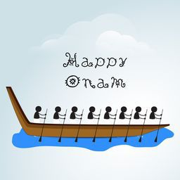 Silhouette image of South Indian people taking part in Snake Boat Racing on a sky look background with childish text.