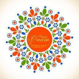 Colourful picture of flower decorated rangoli with stylish text inside .