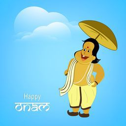 Illustration of King Mahabali with umbrella on cloudy background for South Indian Festival, Happy Onam celebration concept.
