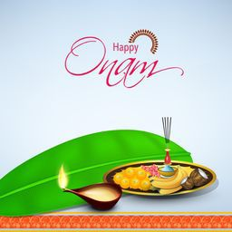 Creative illustration of religious offering on banana leaf for South Indian Festival, Happy Onam celebration.