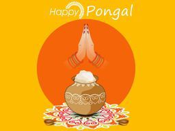 South Indian harvesting festival, Happy Pongal concept with rice in traditional pot, illuminated lit lamps and woman hand in Indian greeting pose namaste on colorful rangoli decorated yellow background.