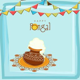 South Indian harvesting festival, Happy Pongal celebrations with rice in traditional mud pot and colorful bunting decoration on sky blue background.