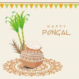 Beautiful traditional mud pot with rice, sugarcane, wheat grain and bunting decoration for South Indian harvesting festival, Happy Pongal celebrations.