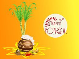 Traditional mud pot with rice, religious offering, lit lamps and sugarcane on colorful background for South Indian harvesting festival Happy Pongal celebrations.