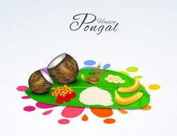 South Indian harvesting festival, Happy Pongal celebrations with religious offerings on banana leaf on colorful rangoli decorated background.
