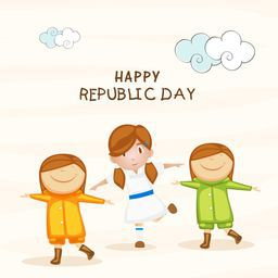 Happy Indian Republic Day celebration concept with cute little kids in National tricolor dress.