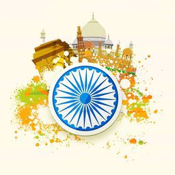 Happy Republic Day and Independence Day celebration concept with famous monuments, ashoka wheel and splash of National tricolor.
