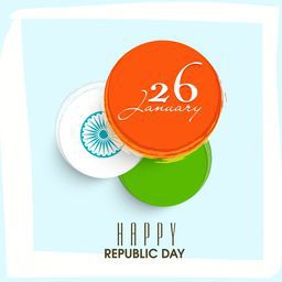 National flag colors sticky design with Ashoka Wheel and text 26 January on sky blue background for Indian Republic Day celebration.