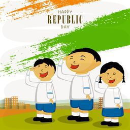 Cute little kids saluting on occasion of Indian Republic Day with national flag colors paint stroke on urban background.
