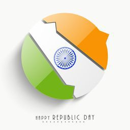 Stylish paper cutout sticky in national tricolor with Ashoka Wheel for Happy Indian Republic Day celebration on white background.