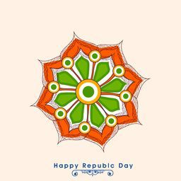 Beautiful greeting card design with flower in national flag colors for Indian Republic Day celebration.