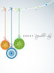 Beautiful balls in national flag color with Ashoka Wheel hanging by stars decorated rope for Happy Indian Republic Day celebration on sky blue background.