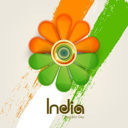 Beautiful flower design in national flag color with Ashoka Wheel for Indian Republic Day celebration.