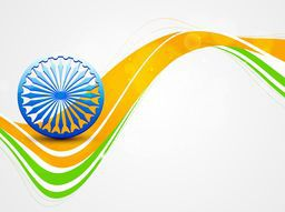 Shiny Ashoka Wheel on national flag colors wave for Indian Republic Day and Independence Day celebrations concept.