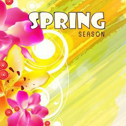 Beautiful greeting card design with colorful flowers for spring season.