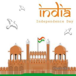 Creative illustration of Red Fort with waving flag for Indian Independence Day celebration.