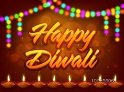 Stylish text Happy Diwali with illuminated oil lamps (Diya) and colorful lights decoration, Beautiful glowing background for greeting card, poster, banner, flyer design, Indian Festival concept.